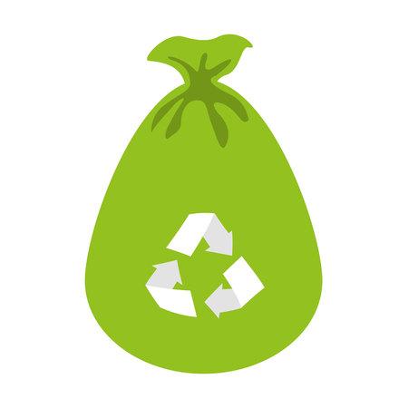 recicla el bolso icono de basura ilustración vectorial de diseño