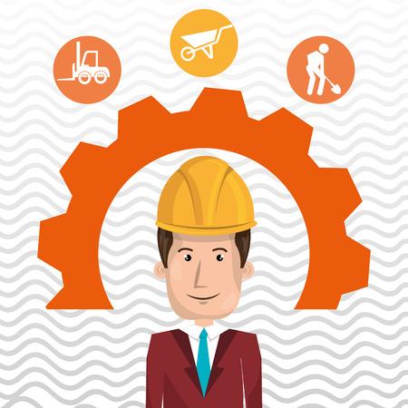 executive helmet: man construction tool gears vector illustration graphic