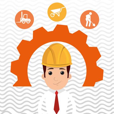 outil de construction de l'homme engrenages vecteur illustration graphique