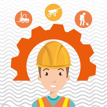topografo: man construction tool gears vector illustration graphic