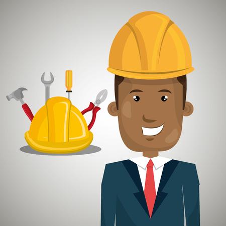 man construction tool helmet vector illustration graphic Illustration