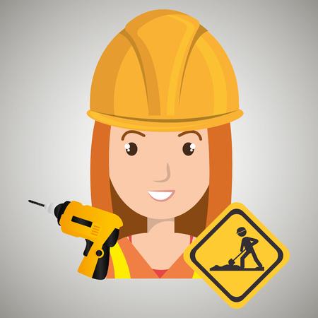 woman construction drill helmet vector illustration graphic Illustration