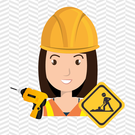 woman construction drill helmet vector illustration graphic Illustration