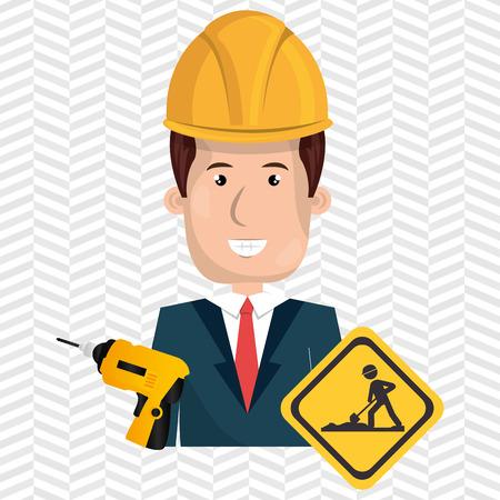 Hombre de la construcción del casco de perforación ejemplo gráfico del vector