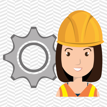 woman construction tool gears vector illustration graphic
