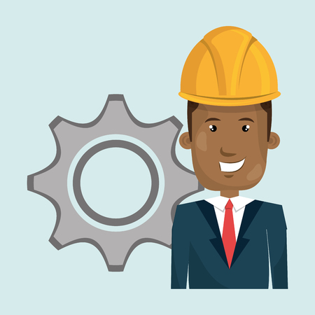 man construction tool gears vector illustration graphic