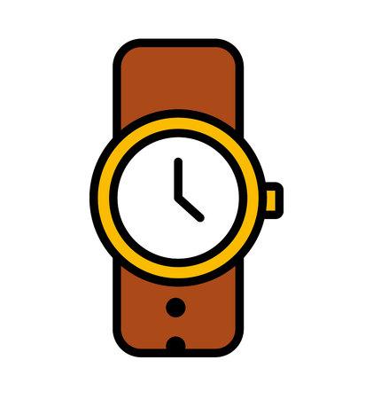 wristlet: wristwatch clock time male icon vector illustration design