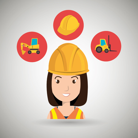 lift truck: woman construction tool lift truck vector illustration graphic