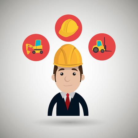 montacargas: casco de construcci�n hombre del carro de elevaci�n ejemplo gr�fico del vector
