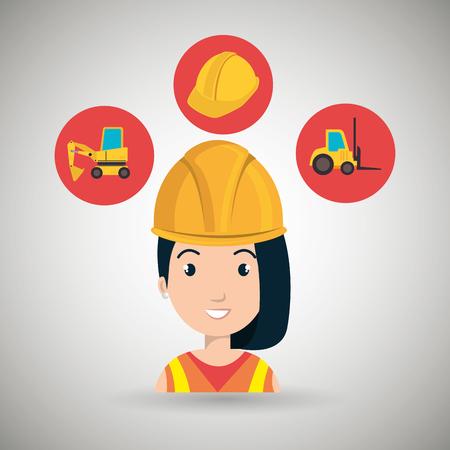 montacargas: herramienta de construcción de la mujer carretilla elevadora ejemplo gráfico del vector