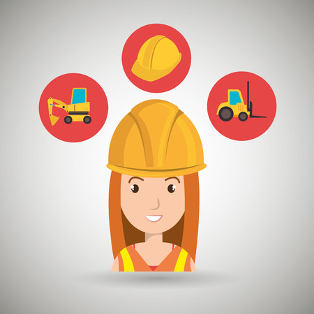 lift truck: herramienta de construcci�n de la mujer carretilla elevadora ejemplo gr�fico del vector