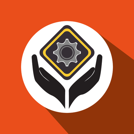 config: hands tools construction symbol vector illustration