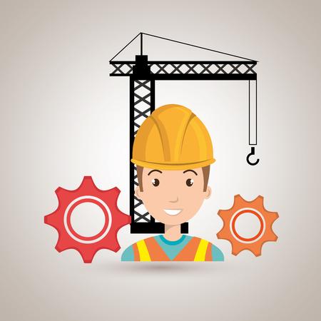 executive helmet: man gears crane helmet vector illustration graphic