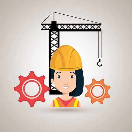woman crane gears helmet vector illustration graphic