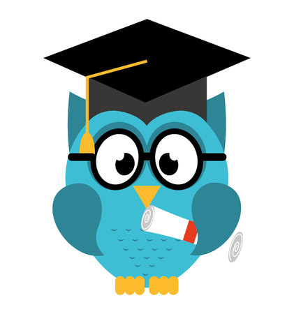 owl bird cute with hat graduation icon Çizim