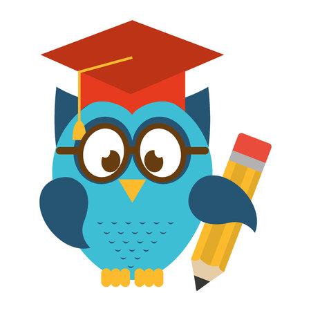 owl bird cute with hat graduation icon Illustration