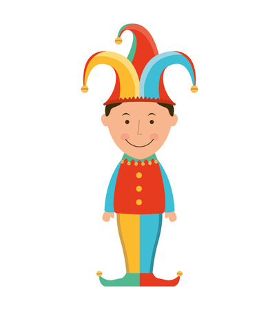 comedian: funny fool jester character icon vector illustration design