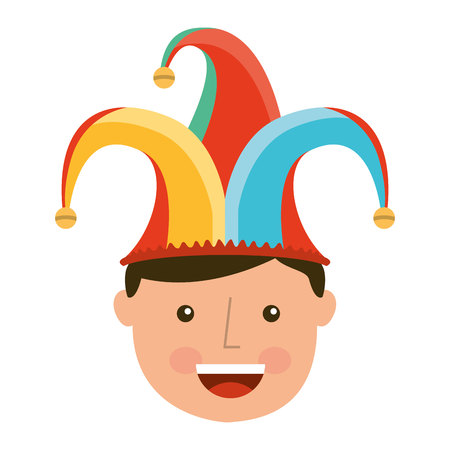 buffoon: funny fool jester character icon vector illustration design