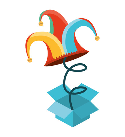 surprise box Fools Day icon vector illustration design Ilustrace