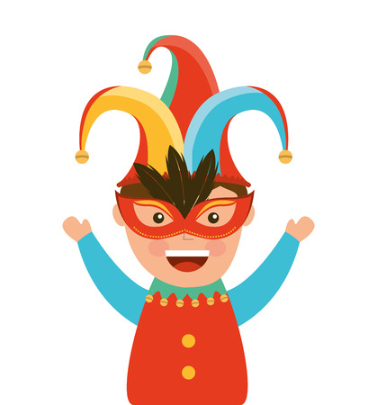 fool: funny fool jester character icon vector illustration design