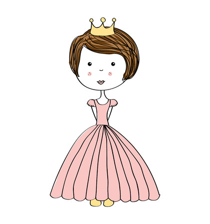 beauty queen: princes drawn crown icon vector illustration design Illustration