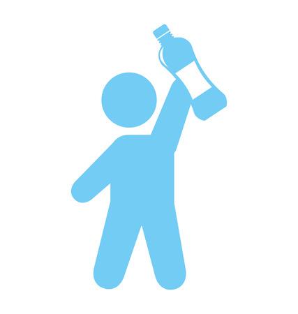 human figure water bottle icon vector illustration design