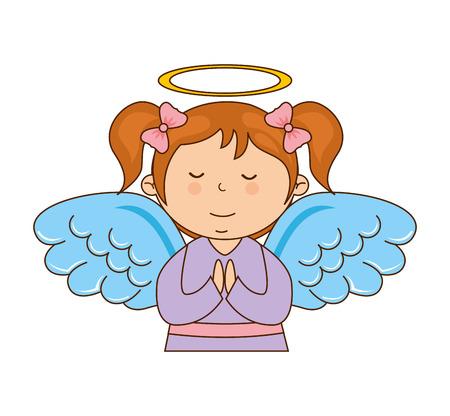 icono de carácter ilustración vectorial diseño de la muchacha del ángel