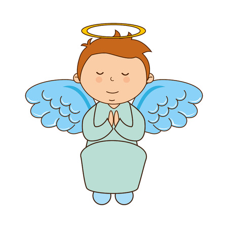 children of heaven: angel boy character icon vector illustration design