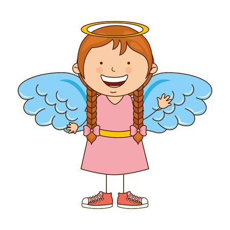 innocent girl: angel girl character icon vector illustration design