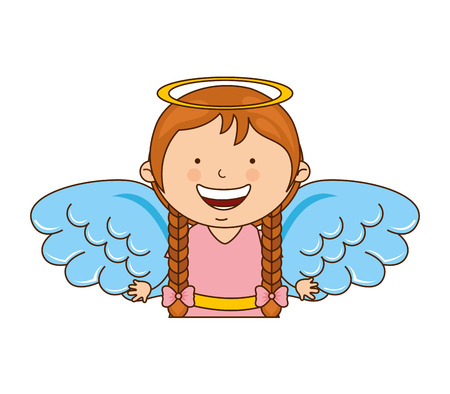 angel girl character icon vector illustration design