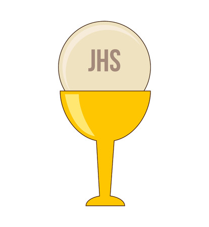the sacrament: cup gold chalice first communion icon graphic isolated vector Illustration