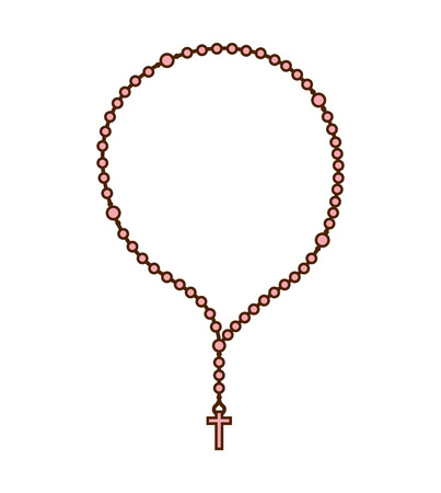rosary: rosary beads religion icon graphic isolated vector Illustration