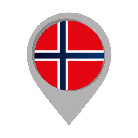 norway: norway pin pointer mark flag language icon Illustration