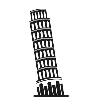 localization: italy tower pisa icon vector illustration design