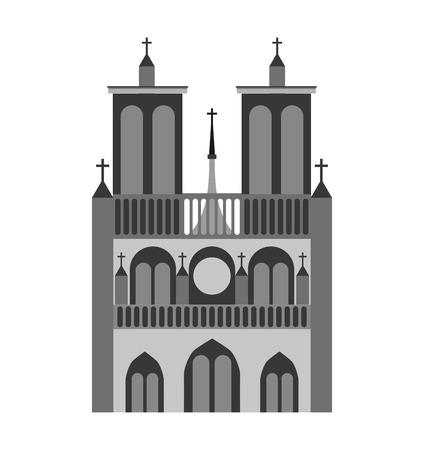 dame: catedral notre dame france icon vector illustration design