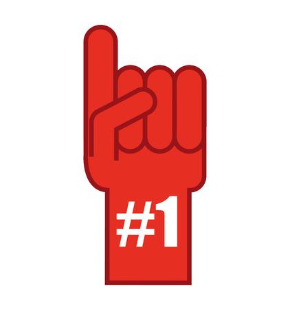 favorite number: glove first number one vector illustration design Illustration