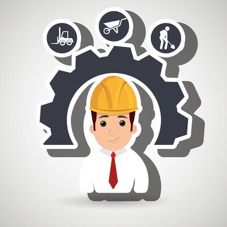 man bouwgereedschap versnellingen vector illustratie afbeelding Stock Illustratie