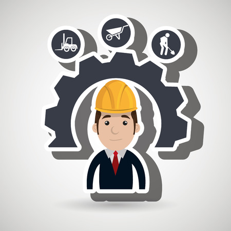 executive helmet: man construction tool gears vector illustration graphic