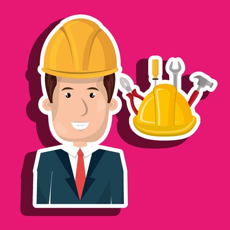 Industrial workers: man construction tool helmet vector illustration graphic Illustration