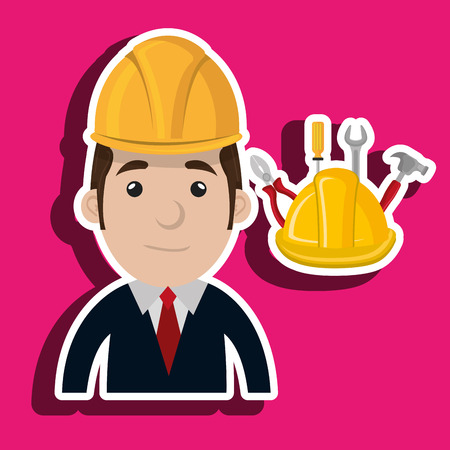executive helmet: man construction tool helmet vector illustration graphic Illustration