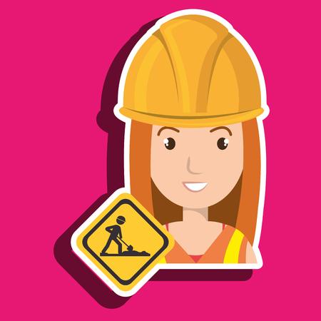 construction helmet: woman construction drill helmet vector illustration graphic Illustration