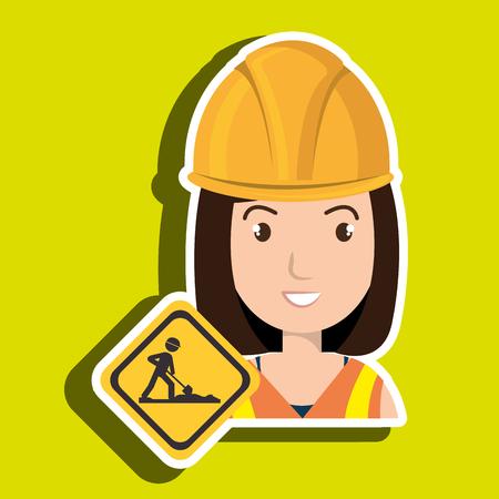 la construcción de la mujer del casco de perforación ejemplo gráfico del vector