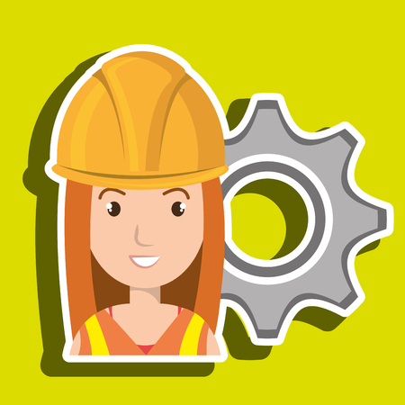 Industrial workers: woman construction tool gears vector illustration graphic