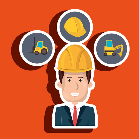 lift truck: man construction helmet lift truck vector illustration graphic