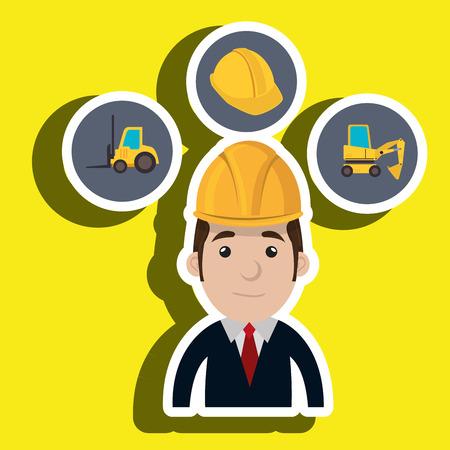 lift truck: casco de construcci�n hombre del carro de elevaci�n ejemplo gr�fico del vector