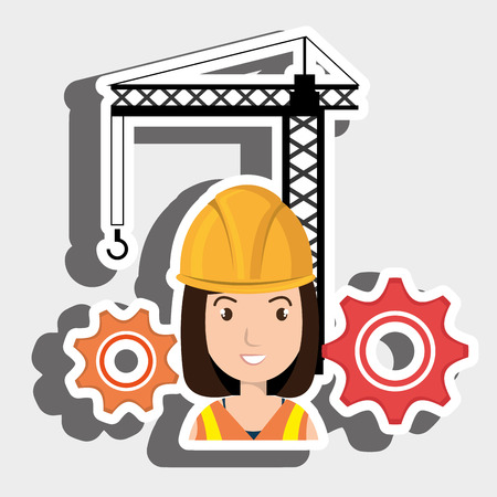 woman crane gears helmet vector illustration graphic