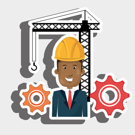 man gears crane helmet vector illustration graphic
