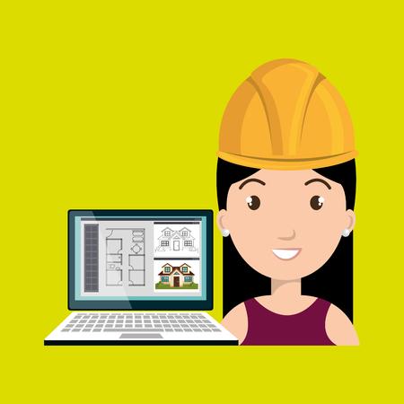 woman architecture laptop plans vector illustration graphic Illustration