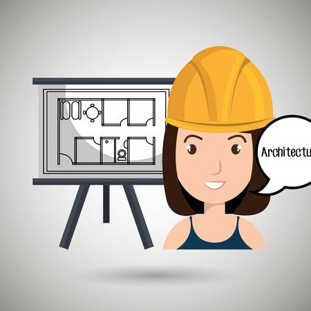 woman architecture plans helmet vector illustration graphic