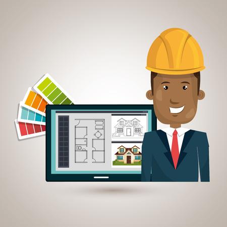 tablet vector: man laptop helmet tablet vector illustration graphic